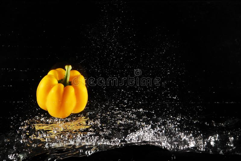 Свежий желтый болгарский перец с выплеском воды и изолированный пузырь скопируйте космос Сочная желтая паприка упаденная в воду н стоковое изображение rf