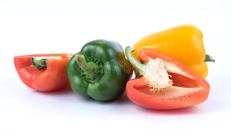 Свежий зеленый желтый и красный пеец стоковое изображение rf