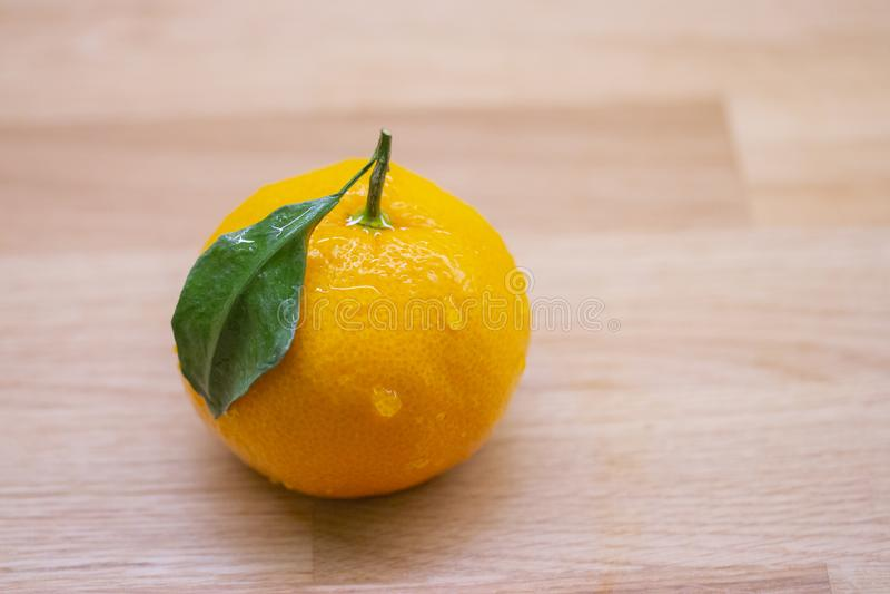 Свежий зрелый мандарин с зелеными падениями лист и воды Влажный оранжевый аппетитный мандарин цитруса на деревянном столе Мандари стоковые изображения rf