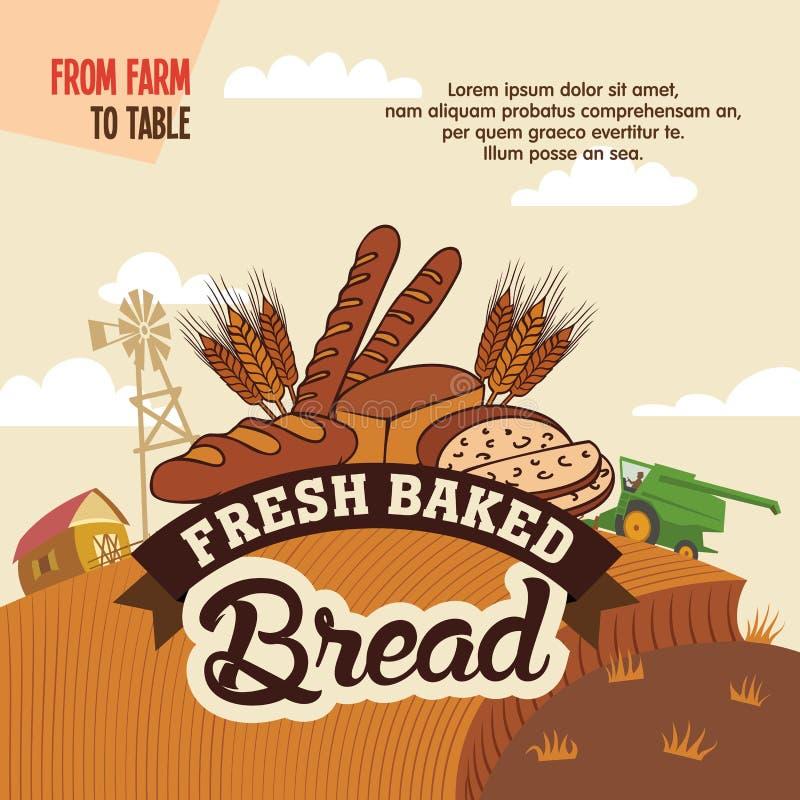 Свежий испеченный хлеб от фермы, который нужно поставить на обсуждение иллюстрация штока