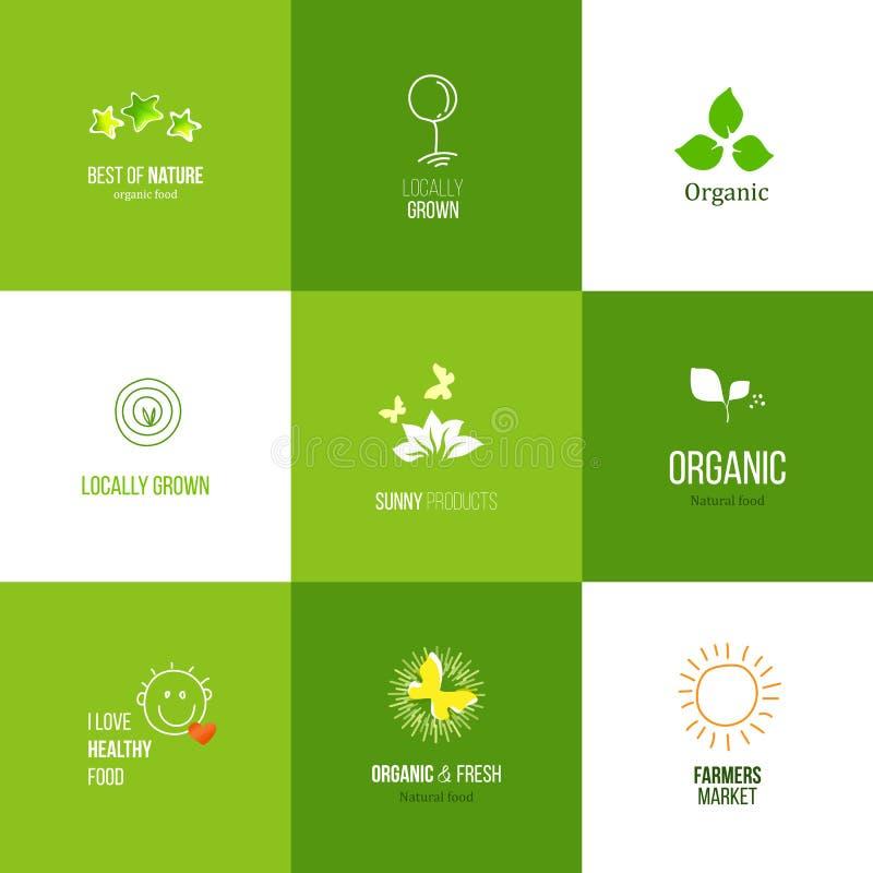 Свежий комплект логотипа еды фермы иллюстрация вектора