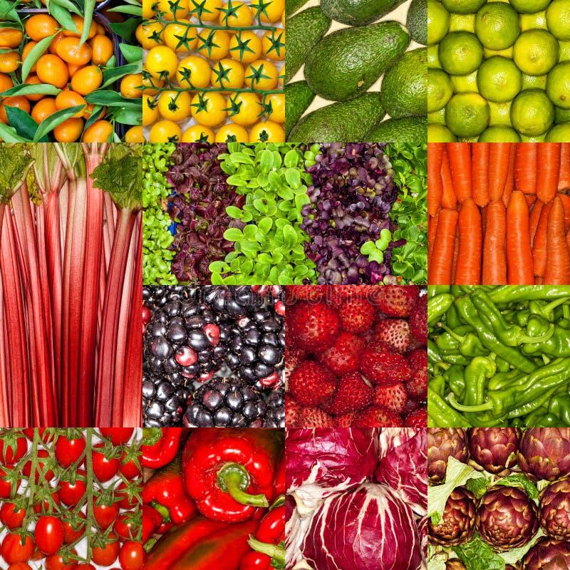 Свежий коллаж фруктов и овощей, еда питания здорового vegan вегетарианская стоковое фото rf