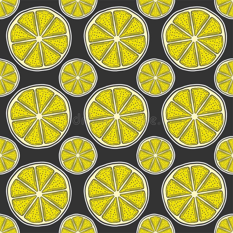 Свежий кусок лимона, половина апельсина Вектор в стиле doodle и эскиза иллюстрация вектора