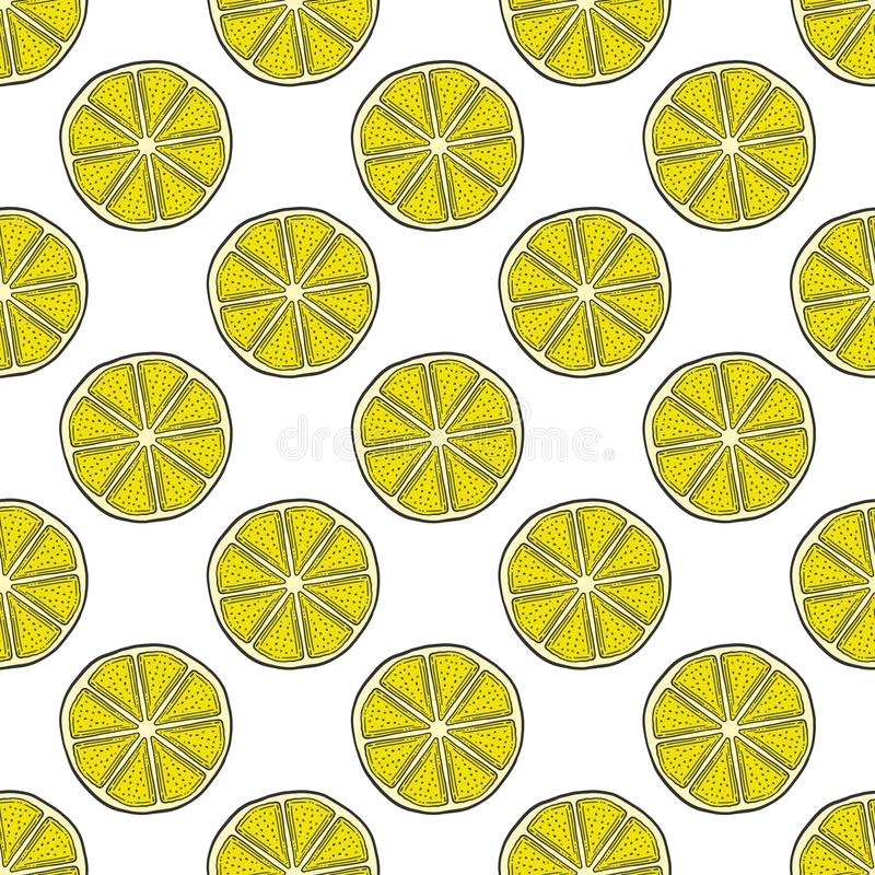 Свежий кусок лимона, половина апельсина Вектор в стиле doodle и эскиза иллюстрация штока