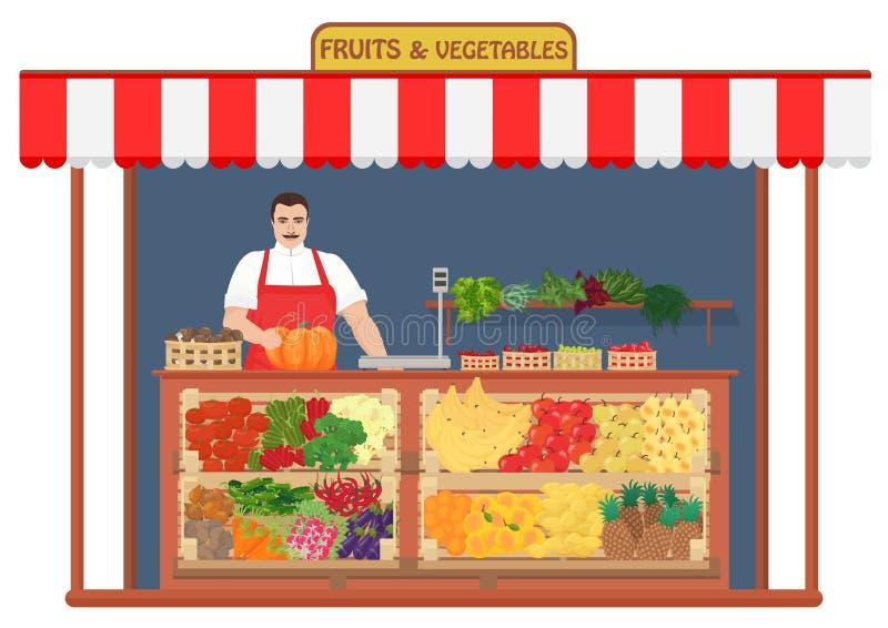 Свежий магазин фруктов и овощей Иллюстрация вектора концепции продавца плодоовощ иллюстрация вектора