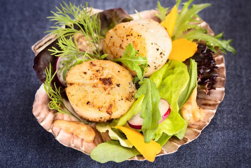 Свежий опаленный салат scallops моря с манго, редиской, авокадоом на s стоковые фотографии rf