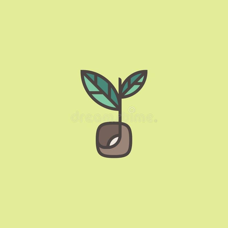 Свежий органический росток Линия шаблон логотипа с семенем пускать ростии иллюстрация вектора