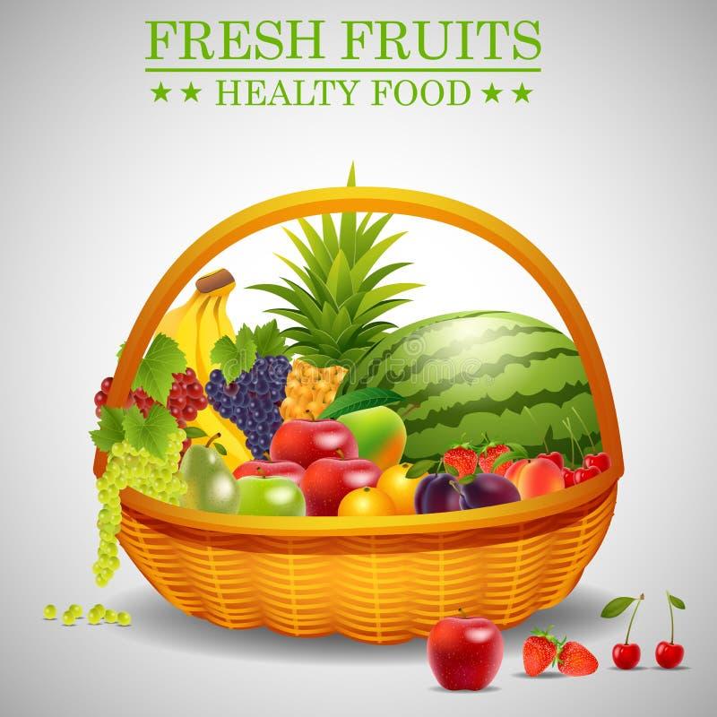 Свежий плодоовощ цвета в корзине иллюстрация штока