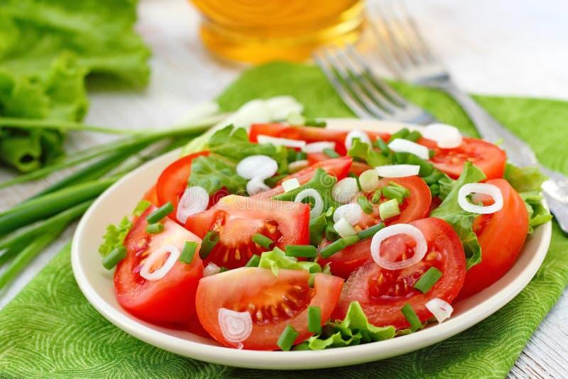 Свежий салат с томатами и луком весны стоковое изображение