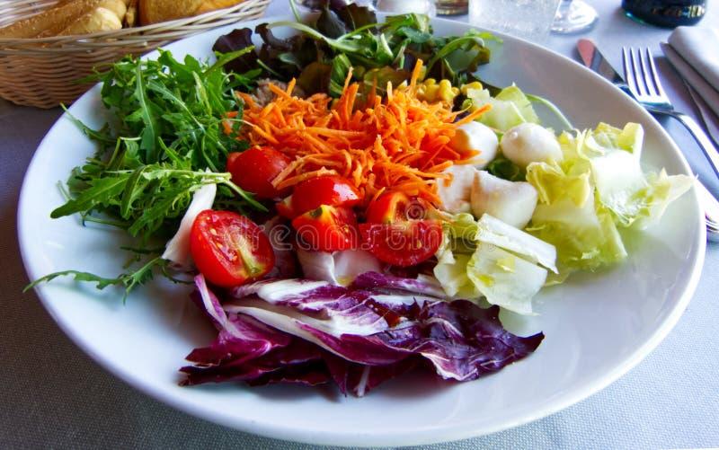 Свежий салат с томатами, тунцом, цикорием и морковами стоковое изображение rf