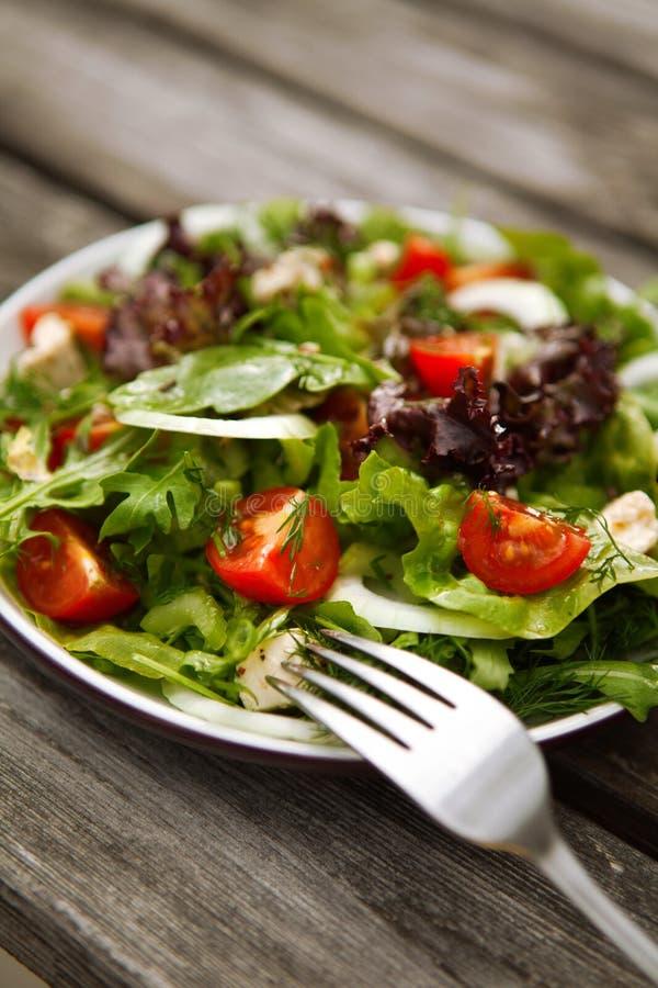 Свежий салат томата и огурца на плите стоковые фотографии rf
