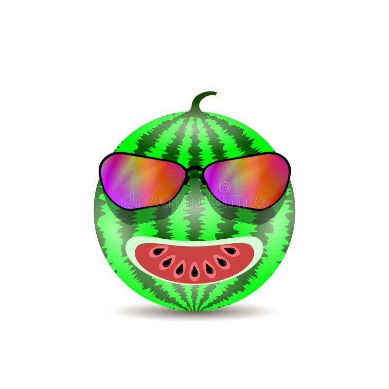 Свежий сладостный естественный зрелый значок арбуза с черными семенами и современными солнечными очками иллюстрация штока