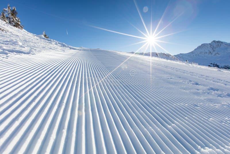 Свежий снег на горнолыжном склоне во время солнечного дня стоковая фотография rf