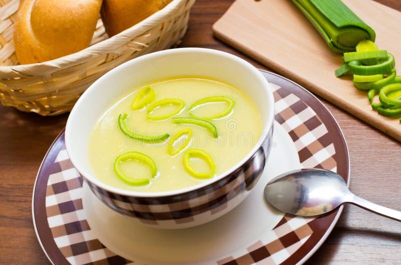 Свежий суп лук-порея стоковое изображение
