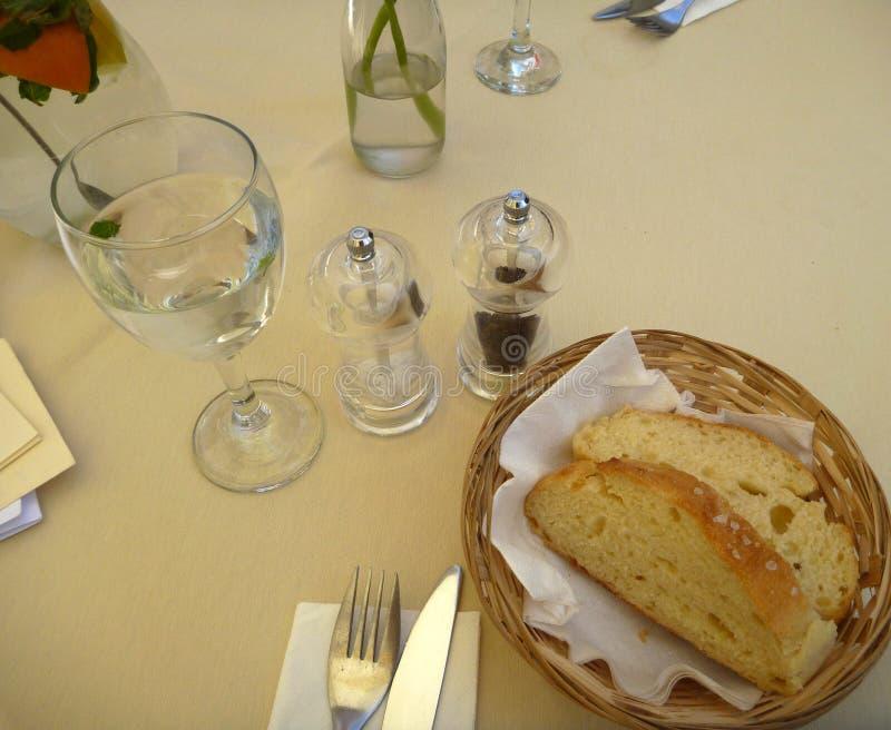 Свежий хлеб в корзине с ножом и вилкой стоковое изображение