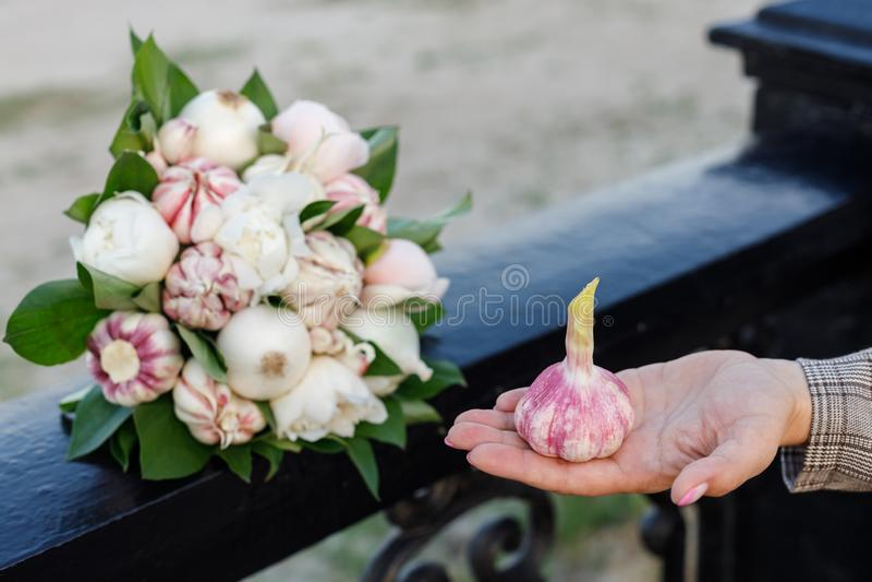 Свежий чеснок лежит на ладони женщины на фоне красивого букета пионов, луков и чеснока стоковая фотография rf