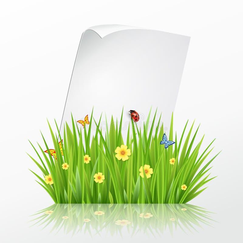 Свежий шаблон рамки зеленой травы весны с завивая бумагой чистого листа иллюстрация вектора