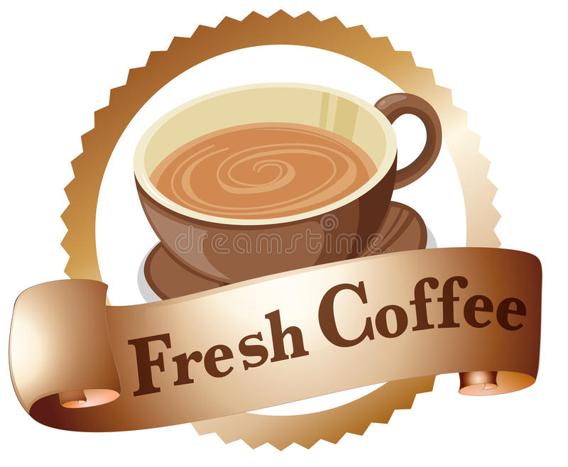 Свежий ярлык кофе иллюстрация штока