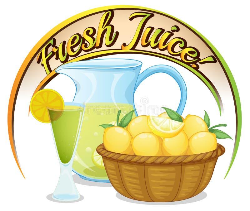 Свежий ярлык сока с корзиной апельсинов бесплатная иллюстрация