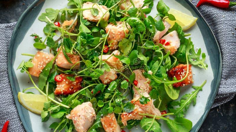 Свежий Salmon салат в азиатском стиле с семенами сезама, chili, лимоном и зелеными овощами стоковое изображение rf