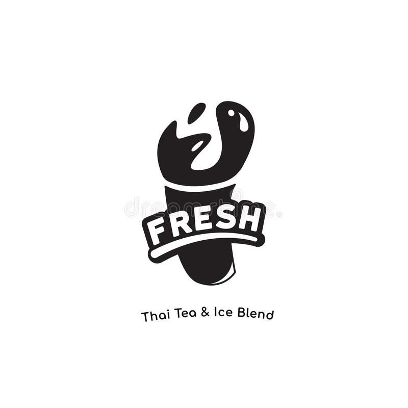 Свежий Yummy логотип для молочного коктейля, тайского чая, шоколада, сока, бренда напитка smoothie в одном цвете хорошем для печа бесплатная иллюстрация