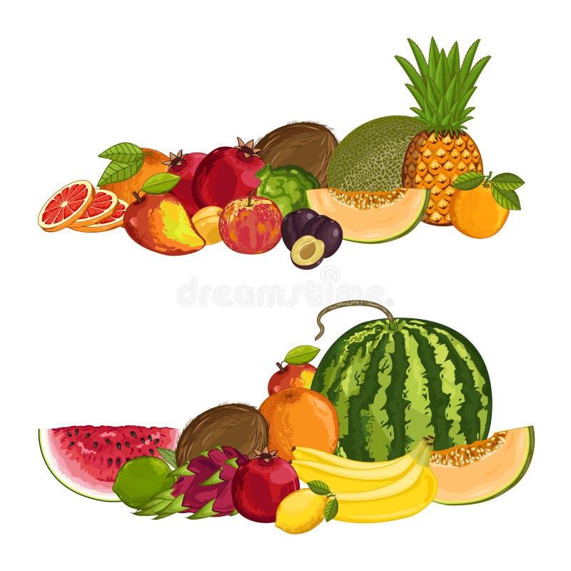 Свежим органическим состав изолированный плодоовощ бесплатная иллюстрация
