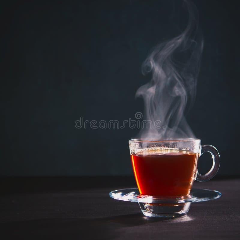 Свежо заварил черный чай в прозрачной стеклянной чашке, избегая пар стоковые изображения
