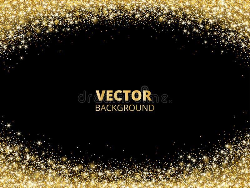 Сверкная граница яркого блеска, рамка Падая золотая пыль на черной предпосылке Украшение свода золота вектора иллюстрация вектора