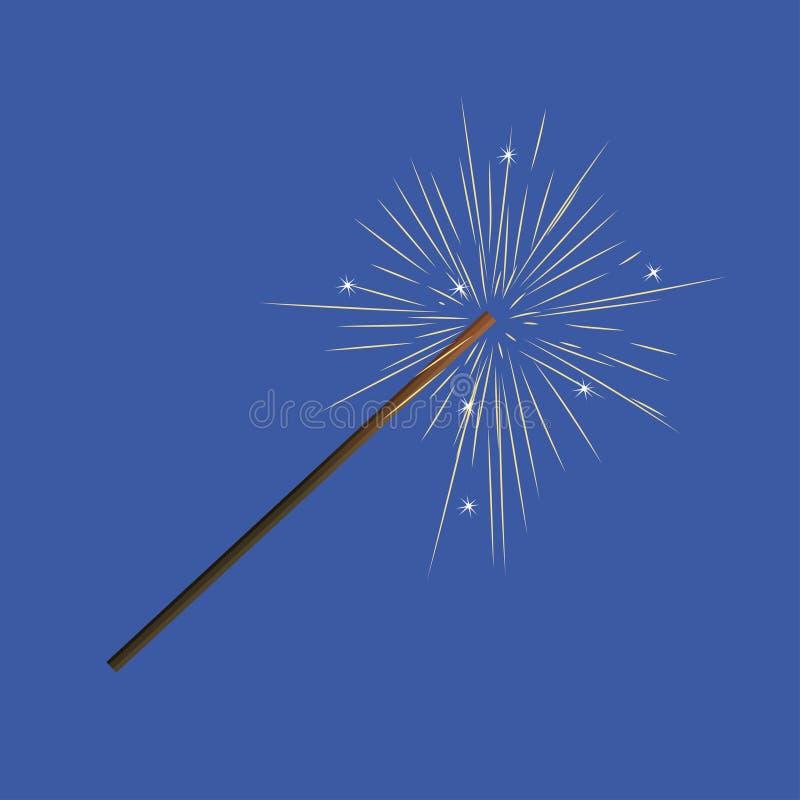 Сверкная изображение вектора свечи праздничного бенгальского огня горя бесплатная иллюстрация