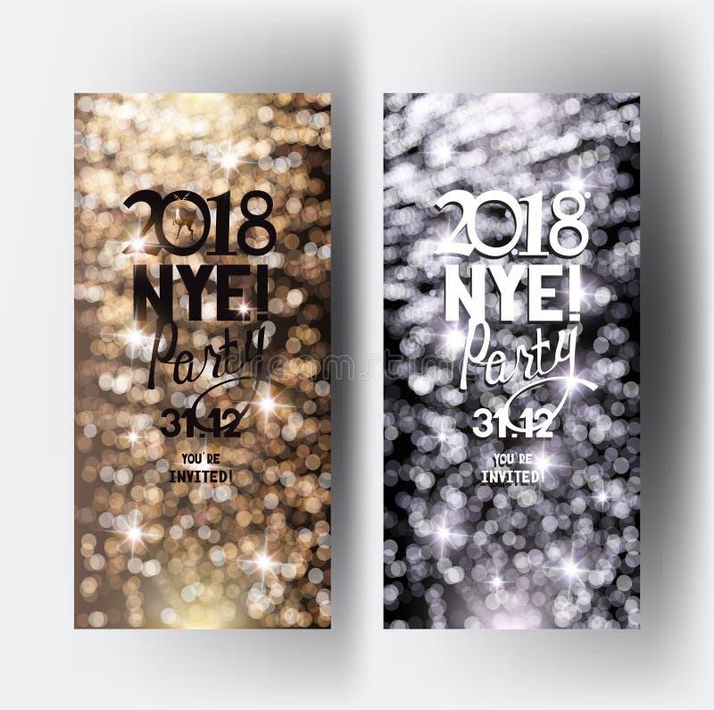Сверкная канун Нового Годаа party приглашение с defocuced светами на предпосылке бесплатная иллюстрация