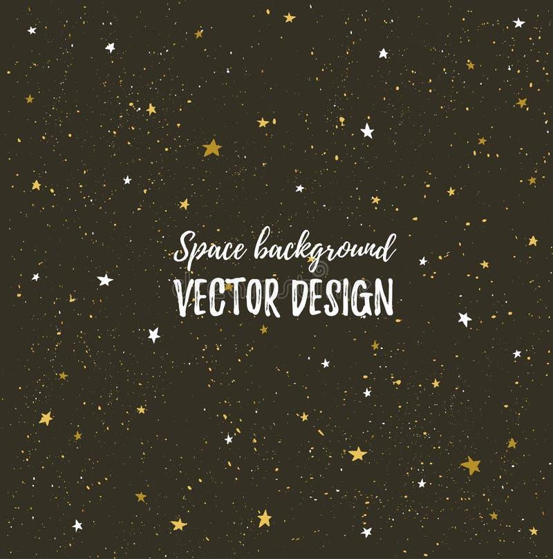 Сверкная небо ночей с звездами и темным пространством Предпосылка вектора нарисованная рукой стильная иллюстрация вектора