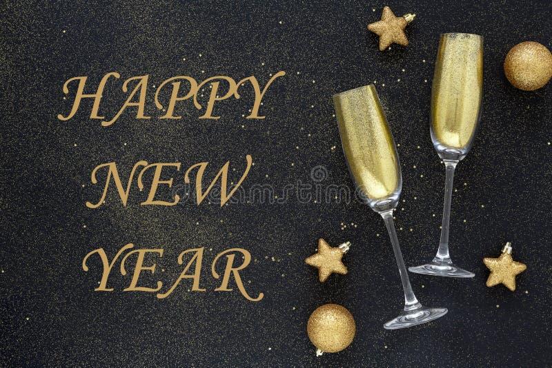 Сверкная предпосылка Нового Года Карта С Новым Годом! Запутывания красивого рождества золотые на черной предпосылке Стекло шампан стоковая фотография