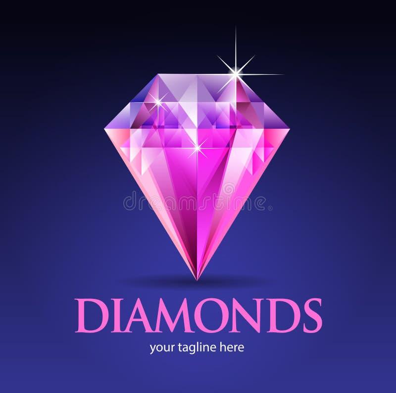 Сверкная розовый диамант иллюстрация вектора