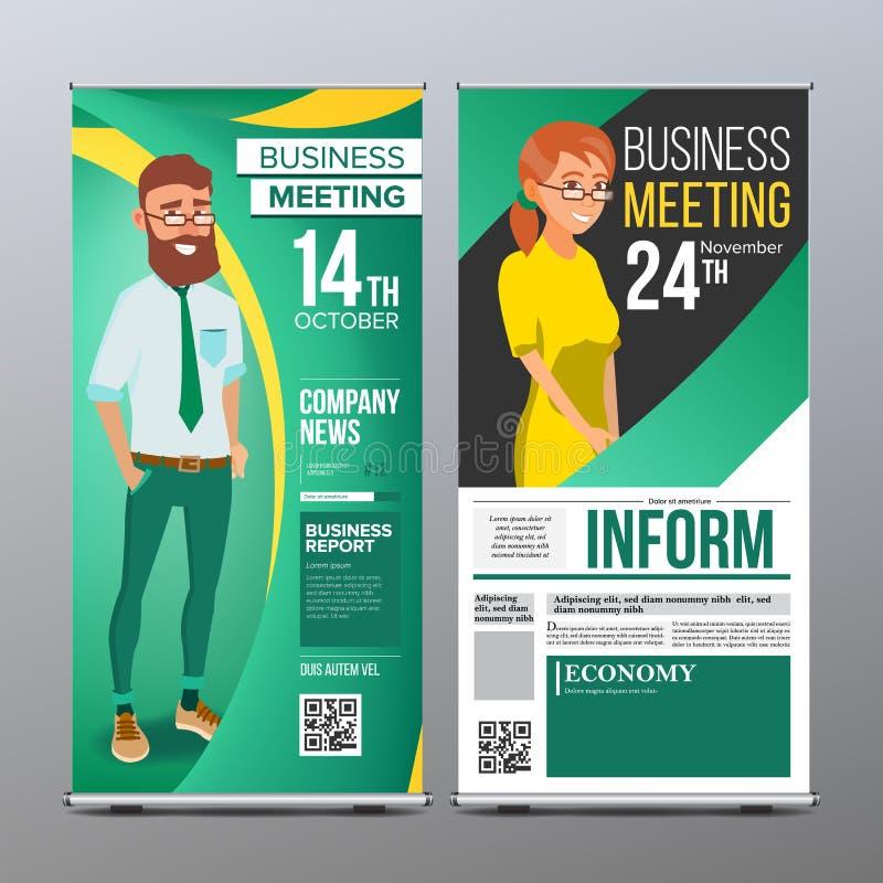 Сверните вверх вектор стойки Вертикальный дизайн пробела флага Бизнесмен и бизнес-леди Для бизнес-конференции приглашение бесплатная иллюстрация