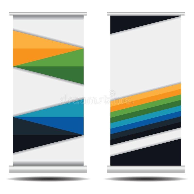Сверните вверх дизайн знамени дела на белой предпосылке Красочный сверните вверх стойку знамени иллюстрация вектора