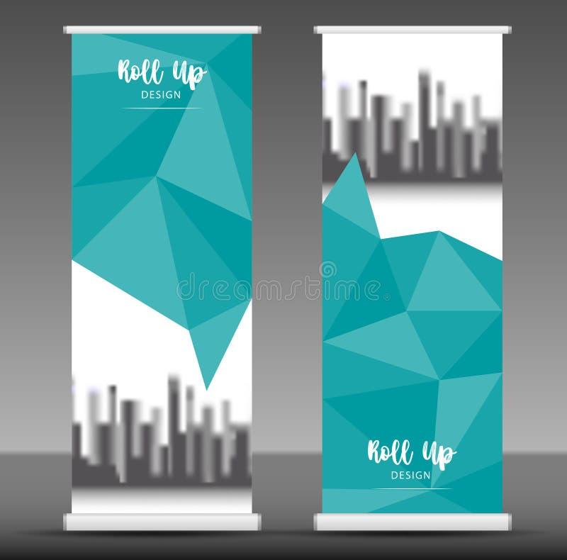 Сверните вверх дизайн шаблона стойки знамени, голубую рогульку дела, бесплатная иллюстрация