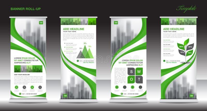 Сверните вверх дизайн шаблона стойки знамени, зеленый план знамени, объявления бесплатная иллюстрация