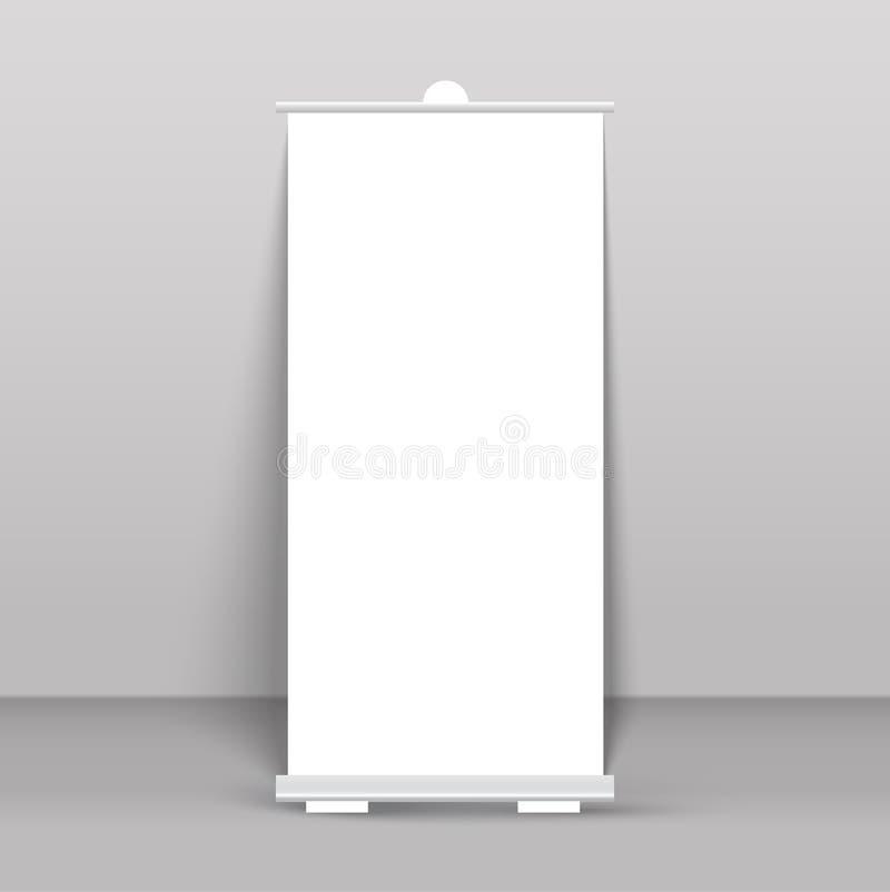 Сверните вверх стойку знамени на прозрачном иллюстрация вектора