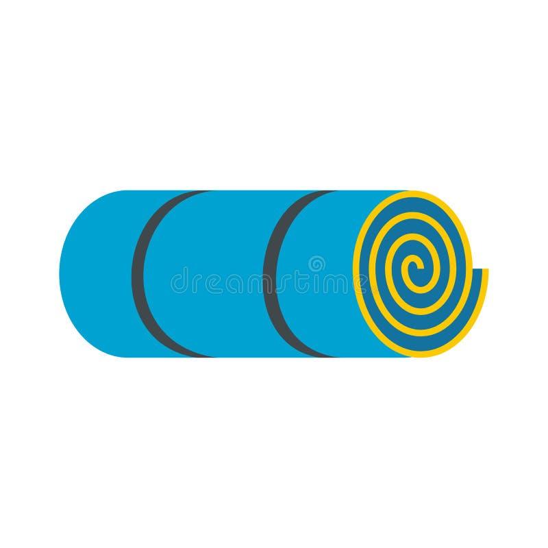 Свернутая-вверх голубая туристская циновка иллюстрация вектора