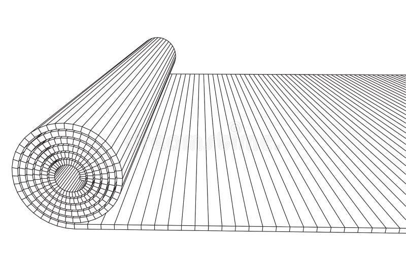Свернутая половиной циновка pilates йоги бесплатная иллюстрация
