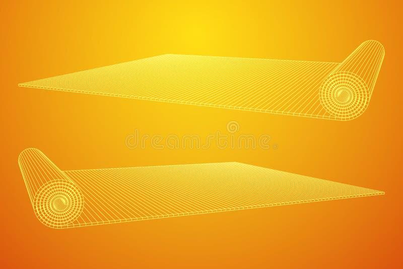 Свернутая половиной циновка pilates йоги иллюстрация вектора