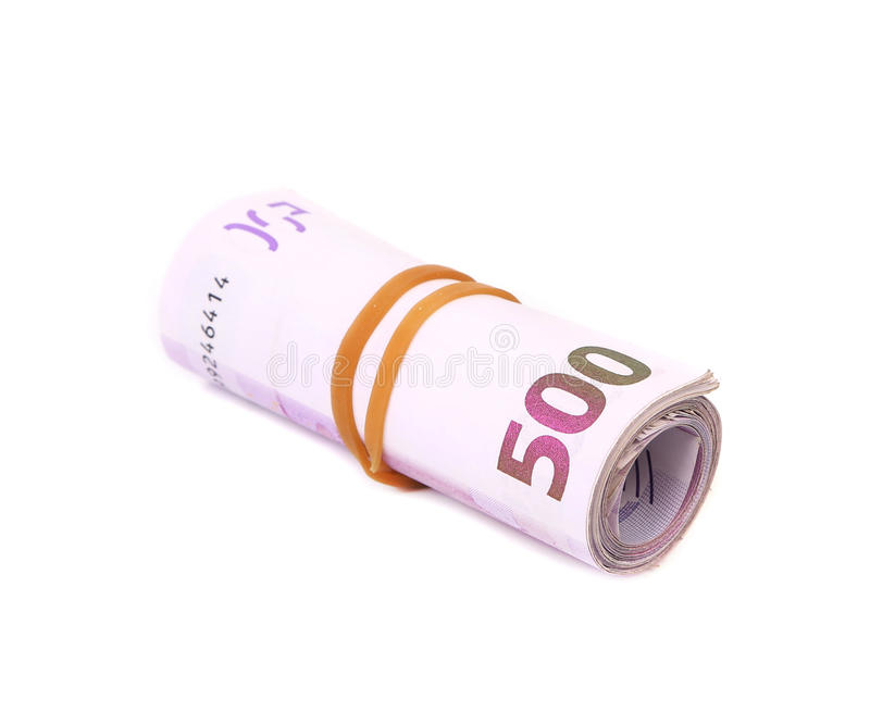 Свернутый 5 банкнотам евро сотен стоковое изображение