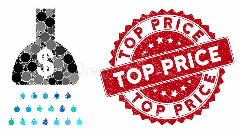 Свернуть платежное понижение с ценовой печатью Grunge Top Price Seal бесплатная иллюстрация