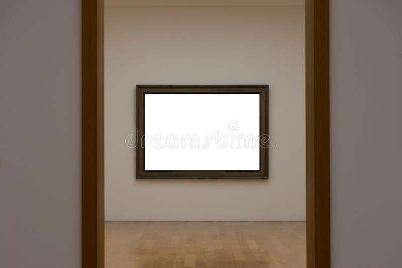 Сверстница Mo пустой белой стены изображения рамки художественной галереи белая стоковое фото
