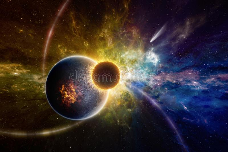 Сверхестественная внеземная форма жизни в глубоком космическом пространстве иллюстрация штока