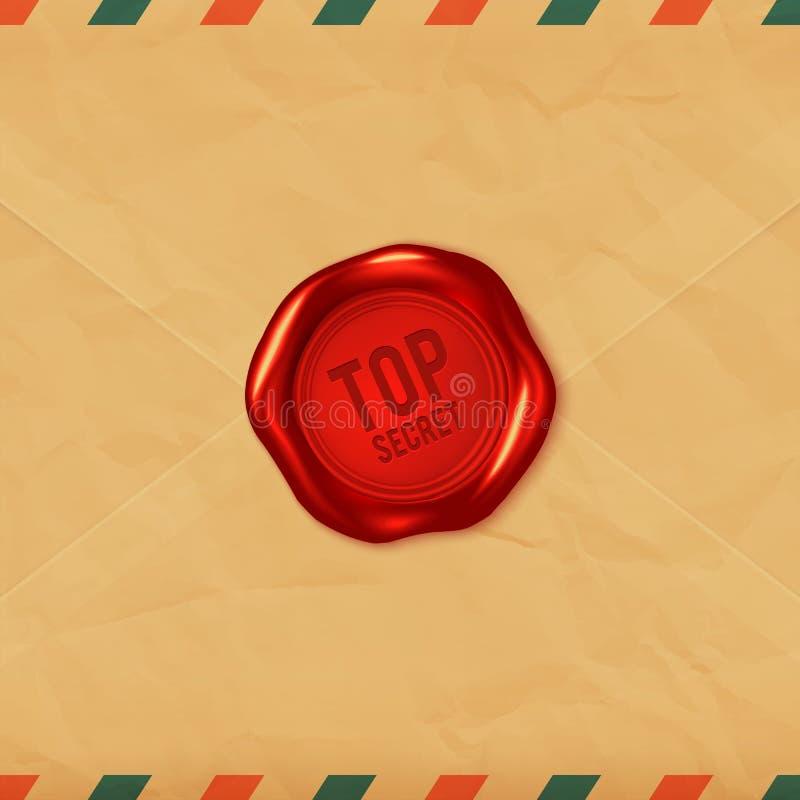 Сверхсекретное красное уплотнение воска на старом конверте иллюстрация вектора