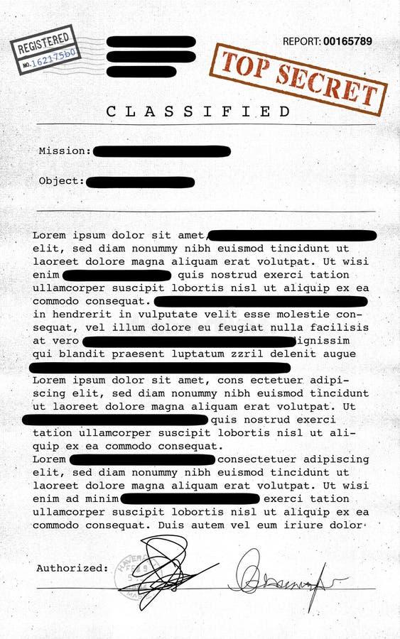 Сверхсекретный документ, рассекречиванная, конфиденциальная информация, секретный текст данные по Не-публики иллюстрация штока