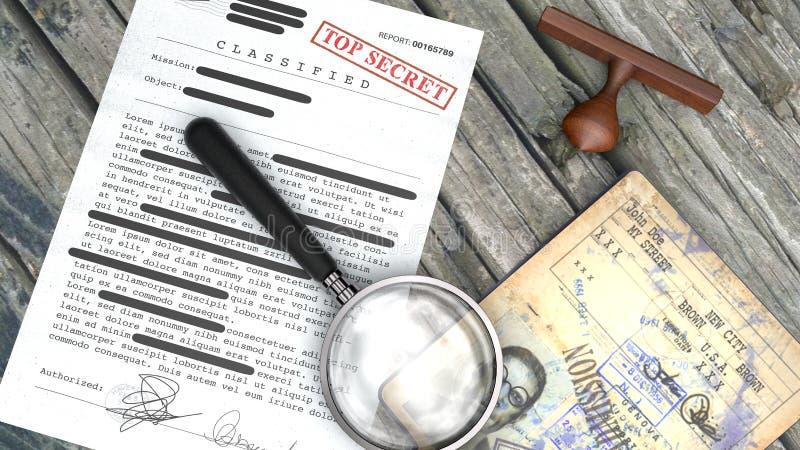 Сверхсекретный документ, рассекречиванная, конфиденциальная информация, секретный текст Паспорт, тайный агент Избитая фраза и уве иллюстрация вектора