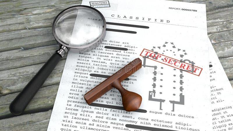 Сверхсекретный документ, рассекречиванная, конфиденциальная информация, секретный текст Ватикан, планиметрирование церков Избитая иллюстрация вектора