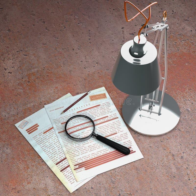 Сверхсекретный документ, рассекречиванная, конфиденциальная информация, секретный текст данные по Не-публики Лист бумаги с раскла иллюстрация вектора
